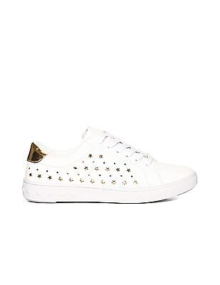 Stride White Low Top Laser Cut Sneakers