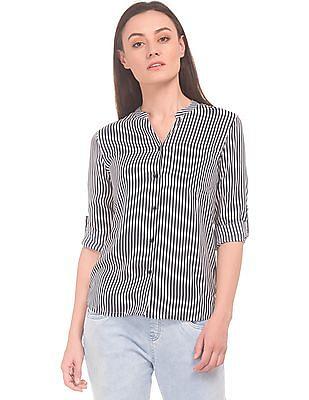 c1a0b364df Buy Women Mandarin Collar Striped Shirt online at NNNOW.com