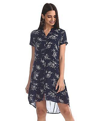 Cherokee Blue Floral Print Shirt Dress
