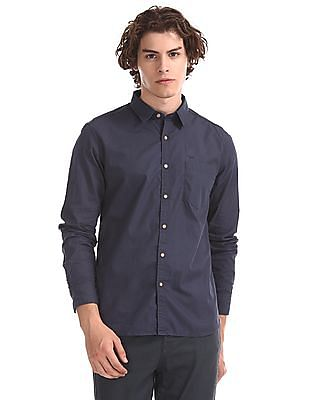Flying Machine Blue Spread Collar Solid Shirt