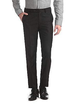 Arrow Black Slim Fit Flat Front Trousers