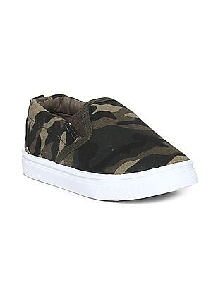 Donuts Grey Boys Camo Print Canvas Slip On Shoes