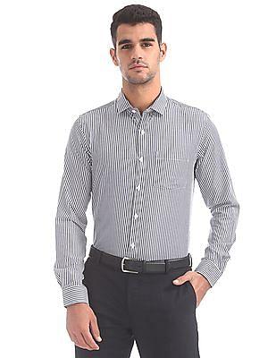 Excalibur Semi Cutaway Collar Striped Shirt