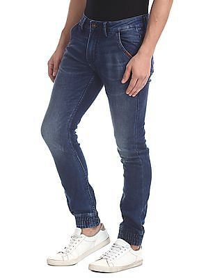Flying Machine Mid Rise Stone Wash Jogger Jeans