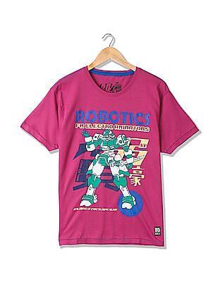 Flying Machine Round Neck Graphic T-Shirt