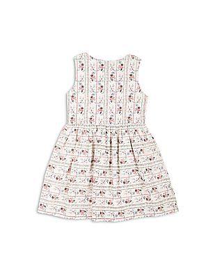 Elle Kids Girls Floral Print Fit And Flare Dress