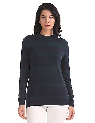 U.S. Polo Assn. Women Regular Fit Patterned Striped Sweater