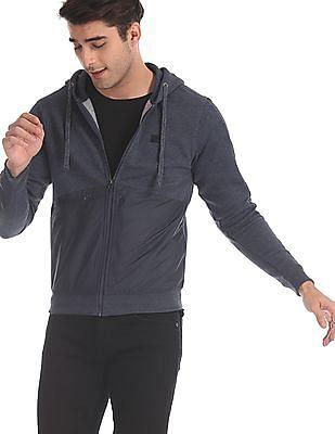 Flying Machine Blue Panelled Zip Up Sweatshirt