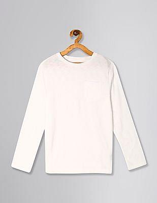 GAP White Boys Pocket Long Sleeve T-Shirt