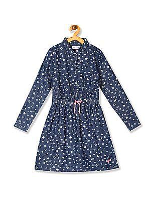 U.S. Polo Assn. Kids Blue Girls Star Print Shirt Dress