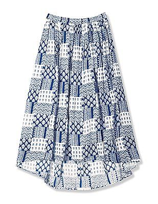 Cherokee Blue Girls Printed High Low Skirt