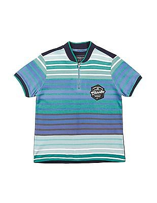 Cherokee Boys Half Zip Striped T-Shirt