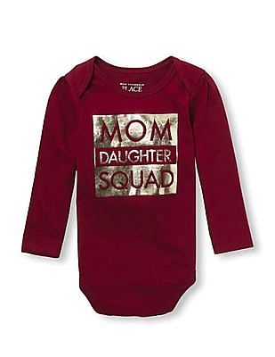 10079a72 The Children's Place Baby Girls Mommy And Me Long Sleeve Foil 'Mom Daughter  Squad'