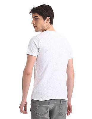 Flying Machine White Crew Neck Nep T-Shirt