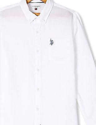 U.S. Polo Assn. Kids White Boys Button Down Collar Patch Pocket Shirt