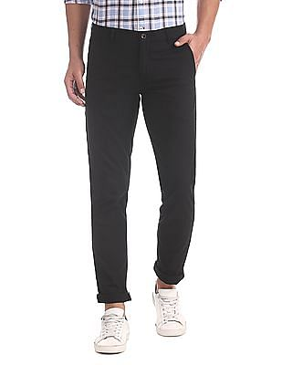 Arrow Sports Black Flat Front Solid Trousers