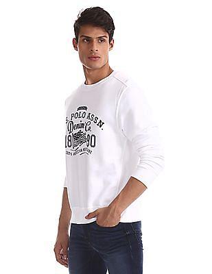 U.S. Polo Assn. White Crew Neck Brand Print Sweatshirt