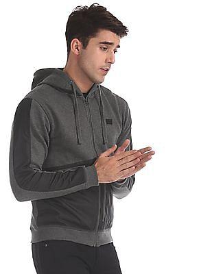 Flying Machine Grey Hooded Panelled Sweatshirt