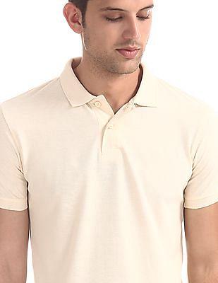 Flying Machine White Regular Fit Pique Polo Shirt