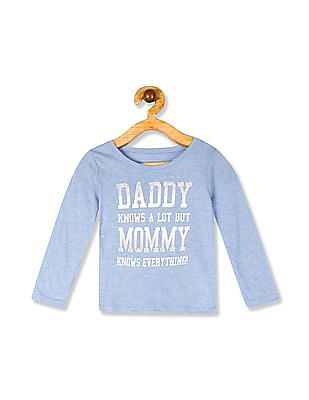 The Children's Place Toddler Girl Blue Long Sleeve Glitter 'Daddy Knows Alot Mom Knows Everything' Graphic Tee