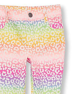 The Children's Place Toddler Girl Multi Colour Printed Knit Jeggings