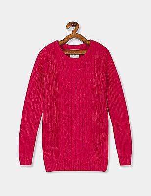 Cherokee Girls Pink Crew Neck Cable Knit Sweater