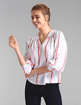 GAP Long Sleeve Stripe Split-Neck Top