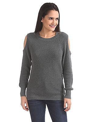 Aeropostale Cold Shoulder Ribbed Knit Sweater