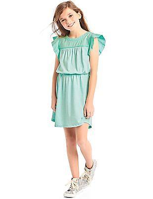GAP Girls Green Stripe Mix Fabric Flutter Dress