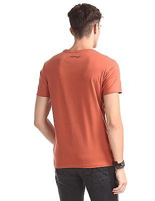 Ed Hardy Orange Crew Neck Solid T-Shirt
