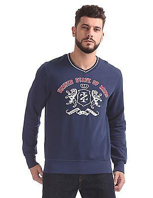 Izod V-Neck Appliqued Sweatshirt