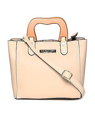 U.S. Polo Assn. Women Contrast Handles Structured Hand Bag