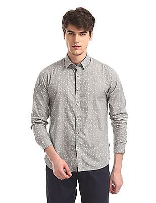 Flying Machine Grey Concealed Button Down Collar Printed Shirt