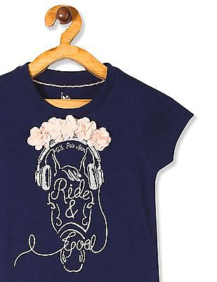 U.S. Polo Assn. Kids Blue Girls Flower Applique Top