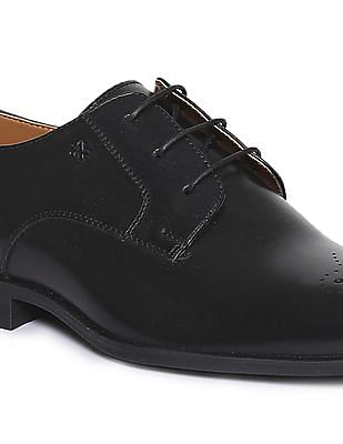 Arrow Pointed Toe Leather Derby Shoes