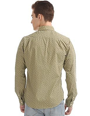 Aeropostale Button Down Collar Printed Shirt