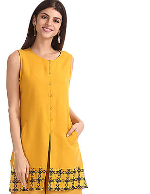 Bronz Yellow Printed Hem Sleeveless Tunic