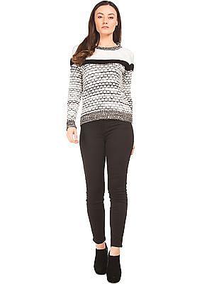 Elle Patterned Knit Monochrome Sweater