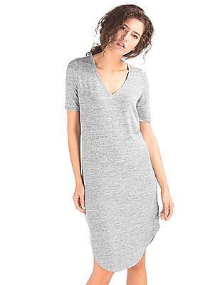 GAP Women Grey Soft Spun Knit V-Neck Midi Dress