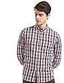 Flying Machine Red And Blue Button Down Collar Check Shirt