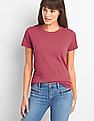 GAP Women Pink Vintage Wash Crew Neck Tee