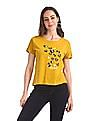 SUGR Yellow Glitter Graphic Slub Top