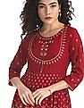 Anahi Red Metallic Print Anarkali Kurta