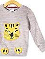 Donuts Grey Boys Animal Patch Crew Neck Sweater