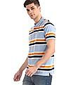 Ruggers Blue Short Sleeve Horizontal Stripe Polo Shirt