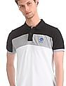 U.S. Polo Assn. White And Black Ribbed Neck Polo Shirt