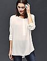 GAP Women White Shirred Long Sleeve Blouse