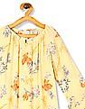 U.S. Polo Assn. Kids Yellow Girls Floral Print Crinkled Top