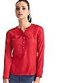 Aeropostale Red Mandarin Collar Patterned Weave Top