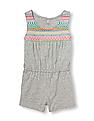 The Children's Place Toddler Girl Sleeveless Embroidered Print Knit Romper